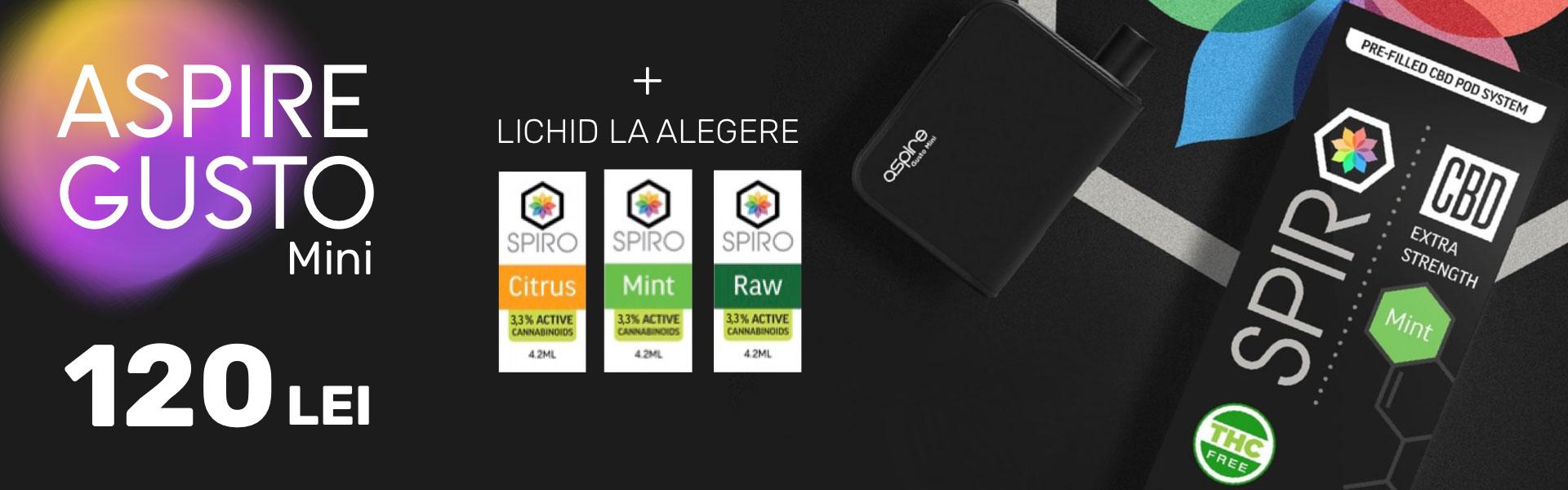 Aspire Gusto Mini + Lichid CBD gratuit